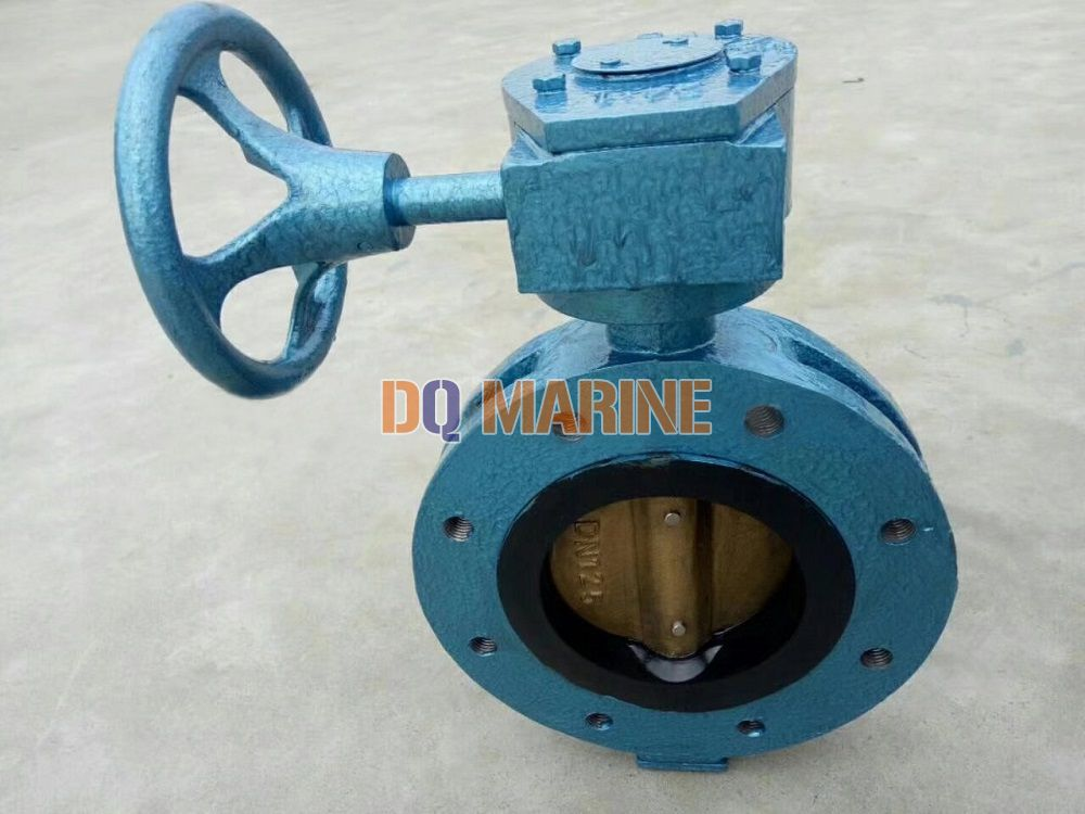 Marine Center Double Flanged Worm Manual Butterfly Valve