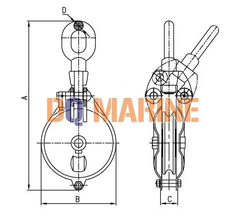 YB Series Marine Shackle Wire Rope Block
